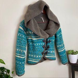 Free People acrylic wool & Sherpa hoodie jacket